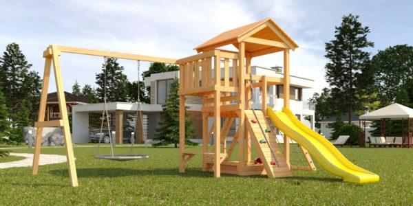 Детская площадка Савушка Мастер 2 с качелями Гнездо 1 метр-1