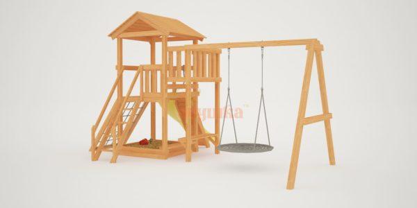 Детская площадка Савушка Мастер 2 с качелями Гнездо 1 метр-4