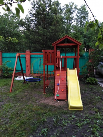 Детская площадка Савушка Мастер 2 с качелями Гнездо 1 метр фото