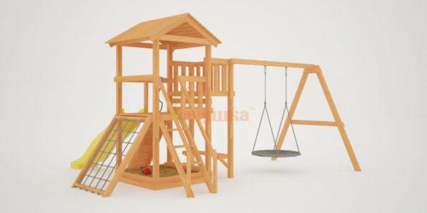 Детская площадка Савушка Мастер 2 с качелями Гнездо 1 метр_2