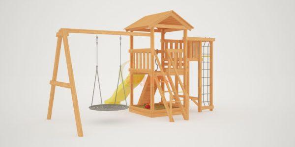 Детская площадка Савушка Мастер 3 с качелями Гнездо 1 метр-3