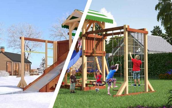 Детская площадка Савушка 4 сезона – 6 + качели-гнездо