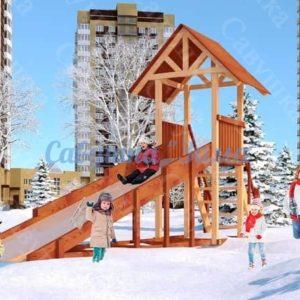 Зимняя деревянная игровая горка Савушка «Зима» — 5