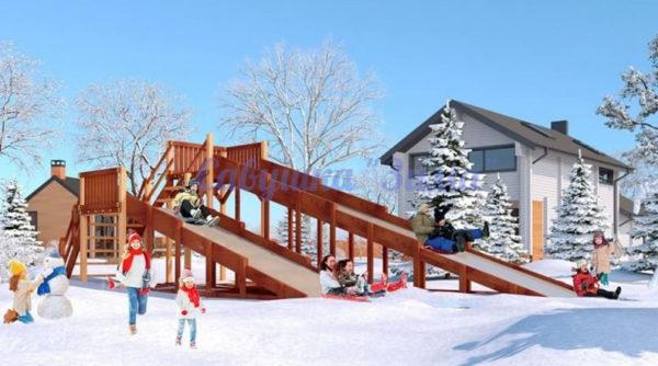 Зимняя деревянная игровая горка Савушка «Зима» — 7