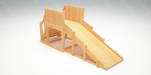 Зимняя деревянная игровая горка Савушка «Зима wood» — 1_3
