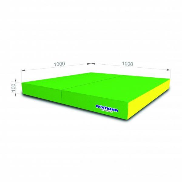 Гимнастический мат РОМАНА Мягкий щит 1000*1000*100 в 2 сложения зелено-желтый