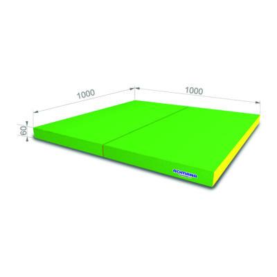 Гимнастический мат РОМАНА Мягкий щит 1000*1000*60 в 2 сложения зел-желтый