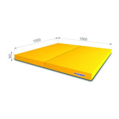 Гимнастический мат РОМАНА Мягкий щит 1000*1000*60 в 2 сложения желтый