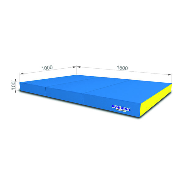 Гимнастический мат РОМАНА Мягкий щит 1000*1500*100 в 3 сложения голубо-желтый