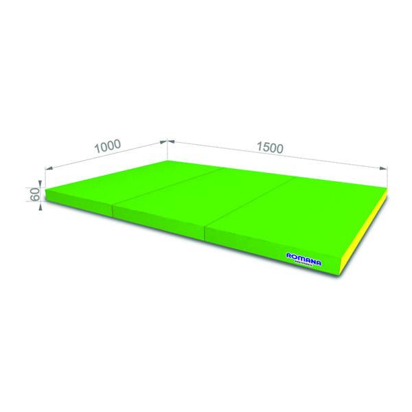 Гимнастический мат РОМАНА Мягкий щит 1000*1500*60 в 3 сложения зелено-желтый