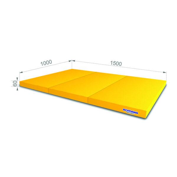 Гимнастический мат РОМАНА Мягкий щит 1000*1500*60 в 3 сложения желтый