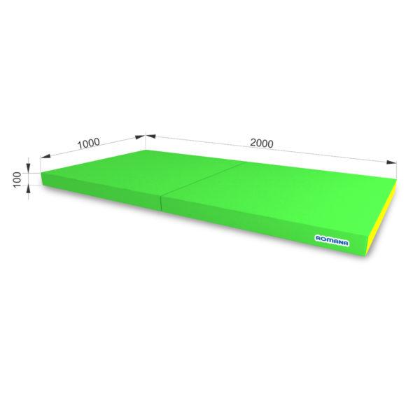 Гимнастический мат РОМАНА Мягкий щит (Мат) 1000-2000-100, в 2 сложения светло-зеленый-желтый