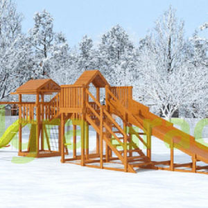 Детская деревянная зимняя горка Snow Fox 5.9 м + Панда Фани Gride