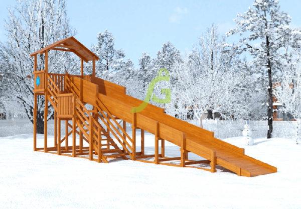 Зимняя горка Snow Fox (Домик) скат 10 м