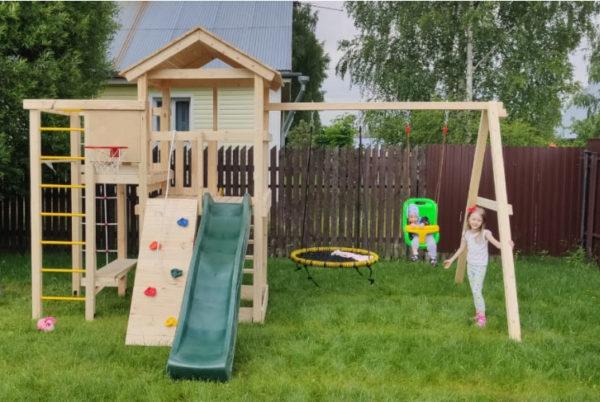 Детский игровой комплекс для дачи Лео + качели-гнездо 0.8м + баскет2