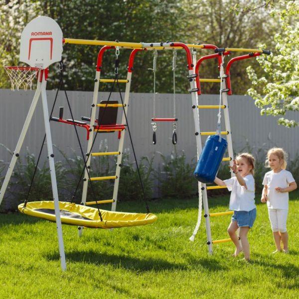 Детский спортивный комплекс для дачи ROMANA Fitness (качели лодка)
